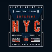 new york city typography design t shirt