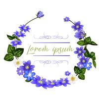 The wreath of scilla flowers. Spring flowers greeting card template.