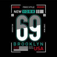 vestuário urbano novo do esporte da tipografia gráfica de New York