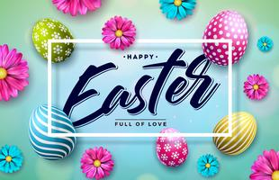 Happy Easter Illustration with Colorful Painted Egg and Spring Flower on Blue Background. vector