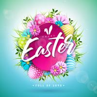 Happy Easter Holiday Design with Painted Egg and Spring Flower on Blue Background.