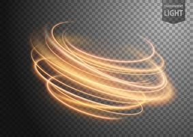 Abstract gold wavy line of light with a transparent background