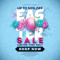 Easter Sale Illustration with Color Painted Egg and Spring Flower on Grunge Background.