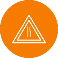 Vector Road se reduce a la derecha Road Sign Icon