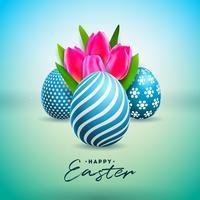 Vector Illustration of Happy Easter Holiday with Painted Egg and Tulip Flower