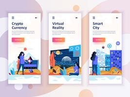 Set di kit di interfaccia utente per schermi onboarding per Cryptocurrency, Smart City, Realtà virtuale, concetto di modelli di app per dispositivi mobili. UX moderno, schermo dell'interfaccia utente per sito web mobile o reattivo. Illustrazione vetto