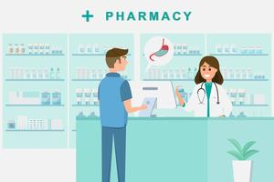 pharmacy with nurse in counter. drugstore cartoon character