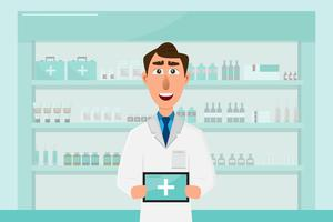 pharmacy with doctor in counter. drugstore cartoon character