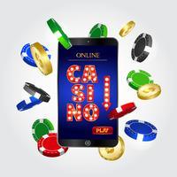 Concepto de casino en línea. Smartphone con monedas y fichas de poker.