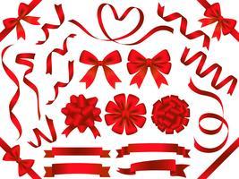 Conjunto de cintas rojas clasificadas aisladas en el fondo blanco.