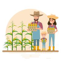 happy farmer family cartoon character