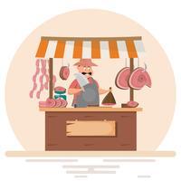 Hombre gordo carnicero ofreciendo carne fresca en tienda de chuleta de cerdo