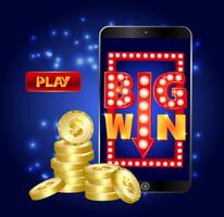 Bannière de marketing de casino en ligne, appuyez sur le bouton pour jouer.