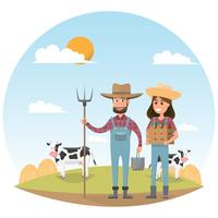 farmer cartoon character with milk cow in organic rural farm