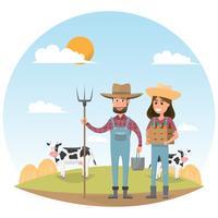 personagem de desenho animado de agricultor com leite vaca em fazenda rural orgânico