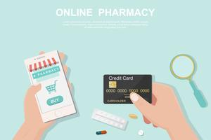 Online pharmacy concept in the flat style.