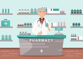 Farmacia con medico en mostrador. diseño de personajes de dibujos animados de droguería