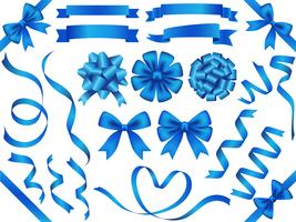 Set of assorted blue ribbons isolated on white background.