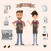 barista man and woman with machine and accessories in a coffee shop