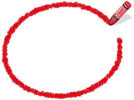Red ellipse crayon frame, vector illustration.