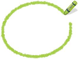 Yellow-green ellipse crayon frame, vector illustration.