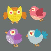 Set of different cute birds and owl