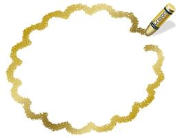 Gold flower circle crayon message frame.