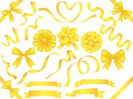 Set of assorted yellow ribbons isolated on white background.