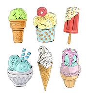 Ice cream collection. Vector illustration.