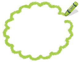 Yellow-green flower circle crayon message frame.