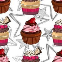 Seamless mönster med muffins och stjärnor.