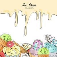 Cartoon cute colorful vector hand drawn ice cream background.