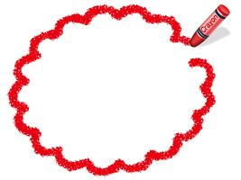Red flower circle crayon message frame.