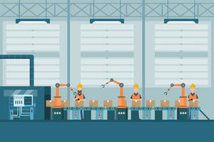 smart industrial factory in a flat style with workers, robots and assembly line packing