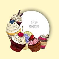 Vector background with different cupcakes and round border for text.
