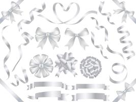 Conjunto de una variedad de cintas de color perla aisladas sobre fondo blanco.