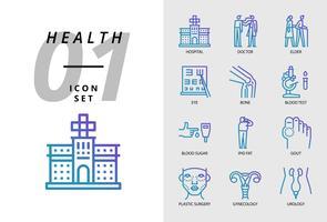 Icon pack for health , hospital, doctor, elder, eye, bone, blood test, blood sugar, ipid fat, gout, plastic surgery, gynaecology, urology.