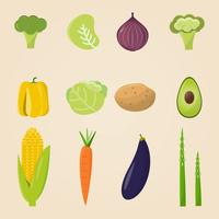 Organic food. Vector illustration, set of vegetables and fruits