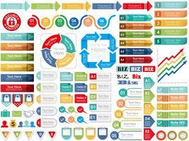 Conjunto de informação de negócios variados-gráficos relacionados, tags e ícones.