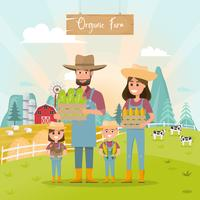 happy farmer family cartoon character in organic farm