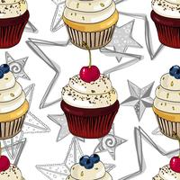 Seamless pattern with cupcakes and stars.