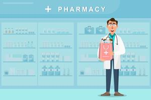 pharmacy with doctor holding a medicines bag