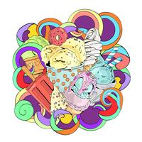 Colorful vector hand drawn doodle cartoon ice cream composition.