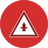 Vector Minor Cross Road Sign Icon