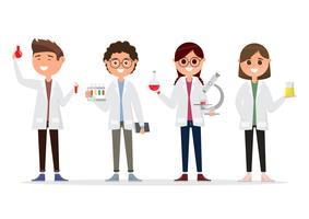 children in different characters. school research in chemistry vector