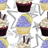 Modèle sans couture avec des cupcakes et des étoiles.