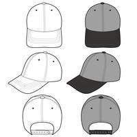 Baseball Cap mode platt skissmall