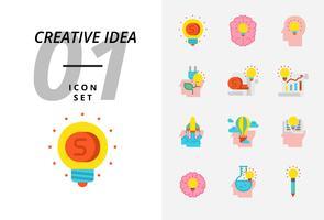 Icon pack per idea creativa, denaro, brainstorming, idea, creatività, ecologia, soldi, carta d'affari, pilota, mongolfiera, razzo, libro, educazione.