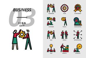 Icon pack for business, Teamwork, team, achievement, customer, people, headhunting, idea, people, opportunities, growing, growth, schedule.
