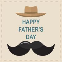 Happy Father's Day greeting card. Design with bow tie, mustache, black glasses on retro paper background.